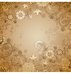 Vintage beige background with doodle flowers vector image vector image