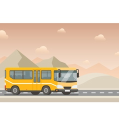 Yellow bus goes on the highway in the desert vector
