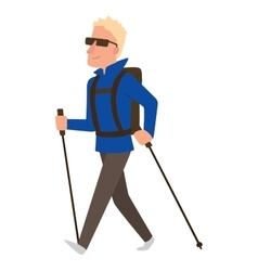Nordic walking sport character vector
