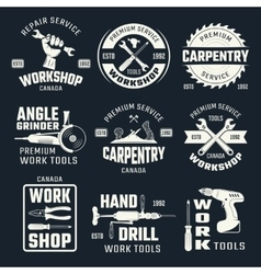 Work tools monochrome emblems vector
