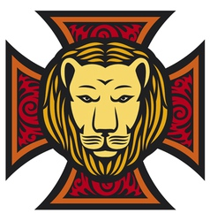 lion head and iron cross in tattoo style vector image