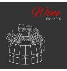 Red wine glass and white wine glass grapes on vector