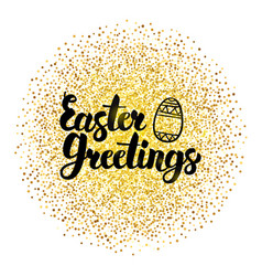 Easter greetings lettering over gold vector