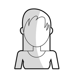 faceless woman with straight hair icon image vector image