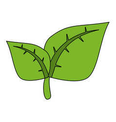 color image cartoon green leaves with vector image