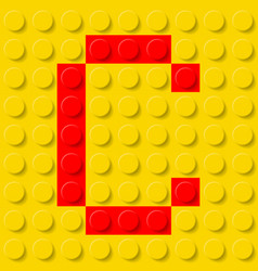 Red letter c in yellow plastic construction kit vector