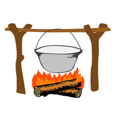 Campfire with kettle vector