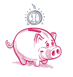 Piggy bank drawing vector