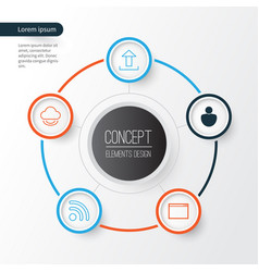 Connection icons set collection of wifi user vector