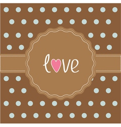 Brown ribbon and label with word love card vector