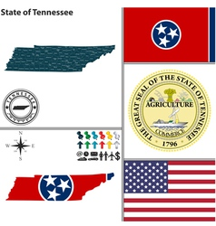 Map of tennessee with seal vector