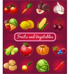 Big set of fruits and vegetables 16 icons vector