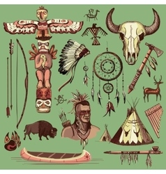 Collection of hand drawn wild west american indian vector