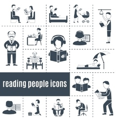 Reading people icons set vector