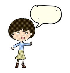 Cartoon woman asking question with speech bubble vector