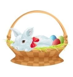 Easter bunny in wicker basket cute easter bunny vector