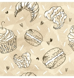 Doodle seamless pattern with sweets vector