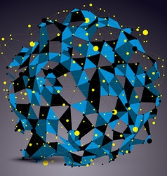 Abstract asymmetric blue structure with yellow vector