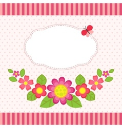 Floral card with a frame vector