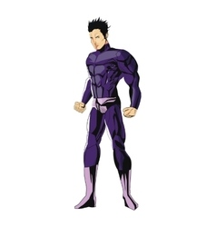 Comic style male superheroe with purple uniform vector