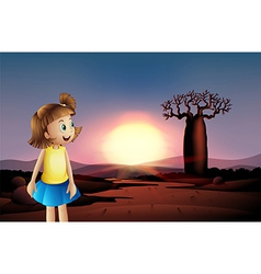 A small girl at the desert wearing a blue skirt vector image vector image