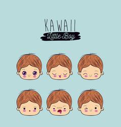 Blue background set facial expression kawaii vector