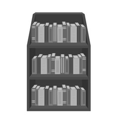 Bookcase icon in monochrome style isolated on vector