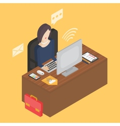 Business isometric 3d workplace vector image vector image