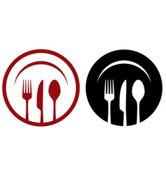 Cafe icons with fork knife spoon plate vector