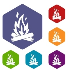 Campfire icons set vector image