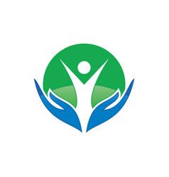 circle human hand logo image vector image vector image