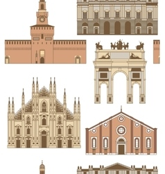 Colored background with famous milan vector