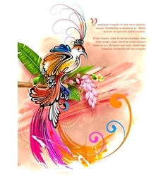 Colorful Bird on watercolor effect background vector image
