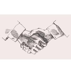 Drawing shake hands partnership sketch vector