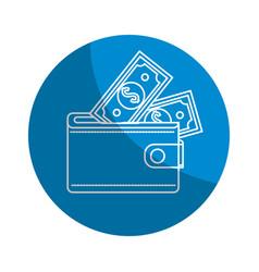 Emblem wallet with dolars bills inside vector