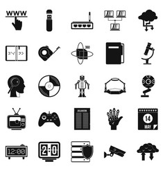 Facts icons set simple style vector