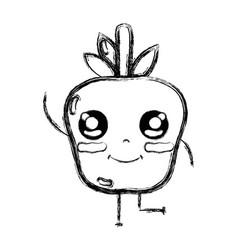 Figure kawaii cute happy apple fruit vector