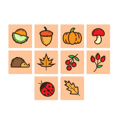 flat color autumn season icon set vector image