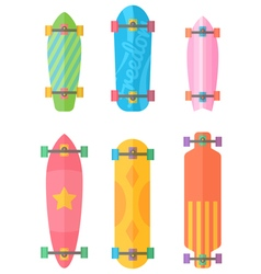 Flat longboards collection with colorful patterns vector