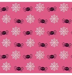 Flat seamless scary spider halloween pattern vector