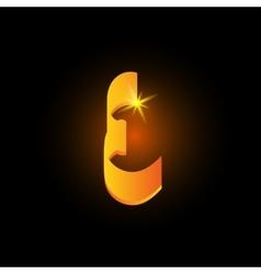 Golden arabic style letter e shiny latin alphabet vector