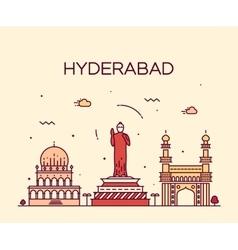 Hyderabad skyline linear vector
