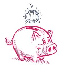 Piggy bank drawing vector
