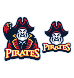 pirate mascot with the parrot vector image vector image