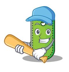 Playing baseball price tag character cartoon vector