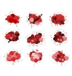 Red ink blobs vector