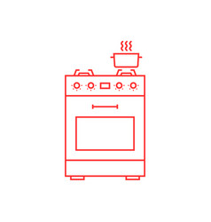 red thin line gas stove icon vector image