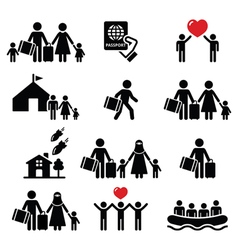 Refugee immigrants families running away icons vector image vector image