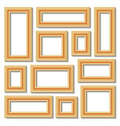 Set collections of golden empty frames vector