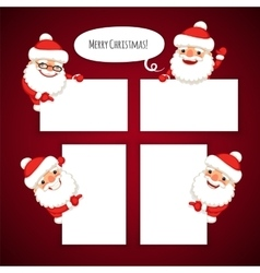 Set of cartoon santa clauses behind a white empty vector